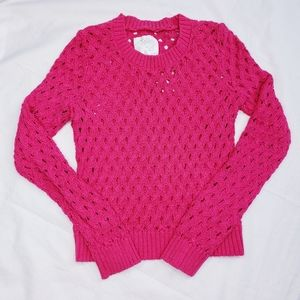 Justice Pink Glitter Open Knit Sweater Size 14